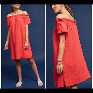 Anthropologie coral off the shoulder summer dress